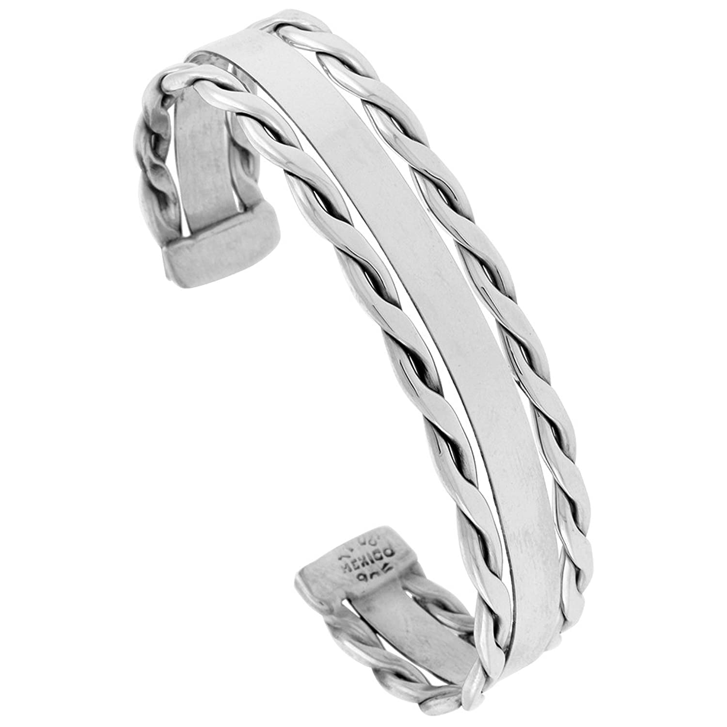 Sterling Silver Cuff Bracelet Flat Wire with Rope Edge Handmade 7.25 inch