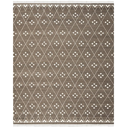 (Safavieh Natural Kilim Collection NKM316A Flatweave Brown and Ivory Wool Area Rug (8' x 10'))