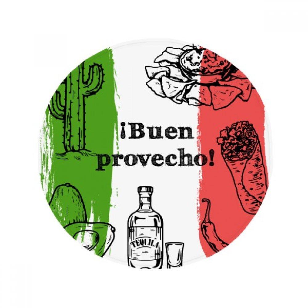 60X60cm DIYthinker Mexico Sketch Cuisine Flag Round Cactus Anti-Slip Floor Pet Mat Round Bathroom Living Room Kitchen Door 60 50Cm Gift