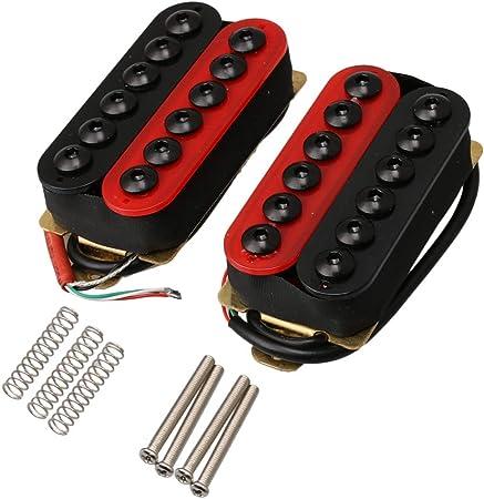 Yibuy インベーダーハムバッカー 1ペア 赤と黒 インベーダーハムバッカー 二重コイル セラミックマグネット 高出力