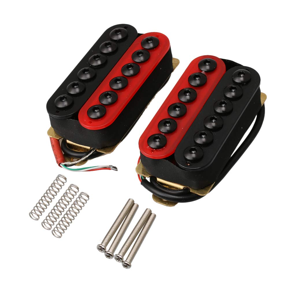 Yibuy Red and Black Metal HOC-BK+RD TMB Double Coil Electric Guitar Humbucker Pickup Set for Humbucker Neck Yibuy239