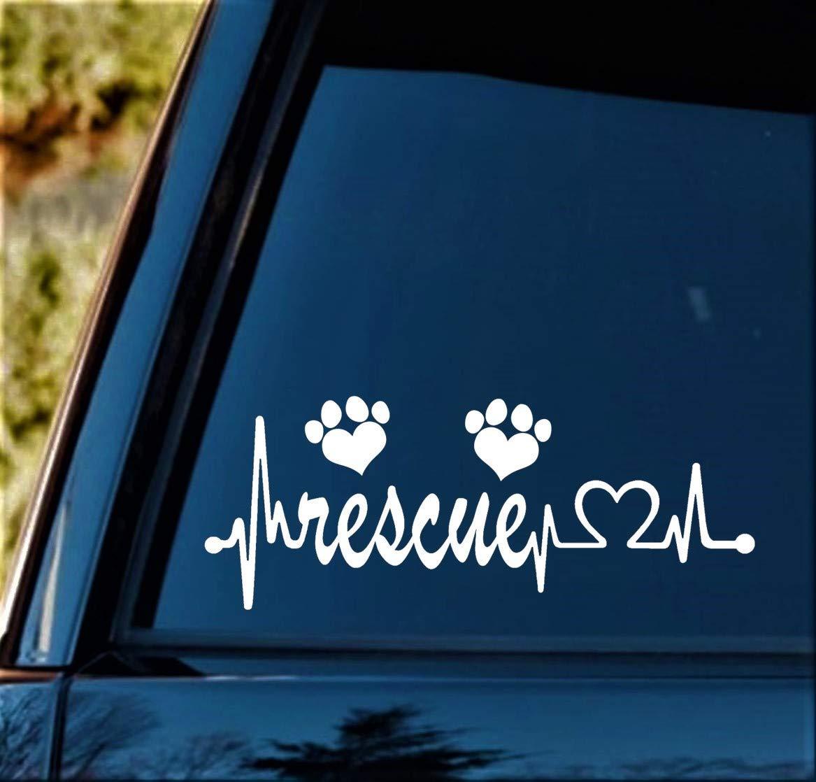 Animal Rescue Heartbeat Lifeline Decal Sticker for Car Window BG 117