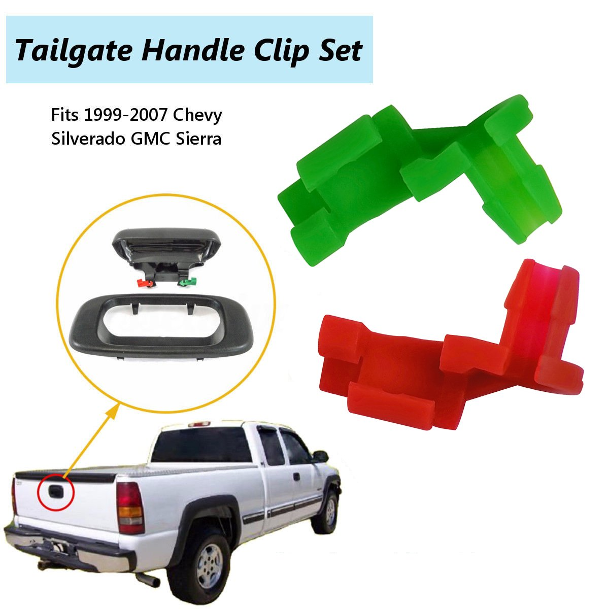 amazon com 1999 2007 chevy silverado gmc sierra tailgate handle rodamazon com 1999 2007 chevy silverado gmc sierra tailgate handle rod clip left \u0026 right rod retainer clips, oem handle replacement 5 pairs 88981030,