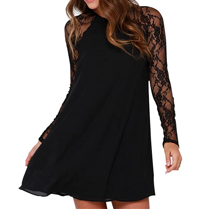 fb12a5d88b40 Minikleid❀Damen Spitze Schwarz Langarm Chiffon Oben Knie Kurz Mini Dress  Loose Party Kleid (