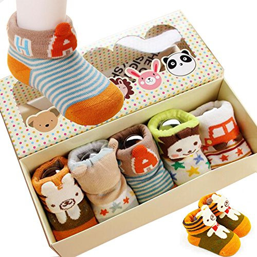 Fly-love® 5pairs Non-Skid  Unisex Baby Crew Sock 0-18 months With Box