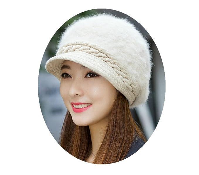 92e02780f46b3 Woman Winter Hat Warm Fluffy Knitted Cap Sun Rabbit Fur Beret Cap Outdoor Thick  Beanies for