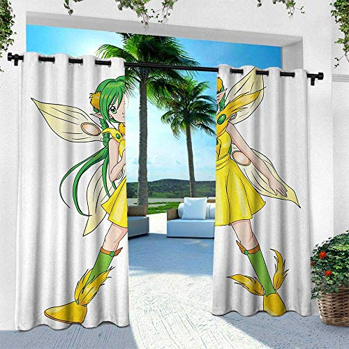 Hengshu Anime, Outdoor Privacy Curtain for Pergola,Fantasy Illustration of a Fairy Girl in a Yellow Dress Japanese Manga, W96 x L96 Inch, Yellow Lime Green Ivory]()