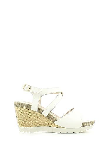 Lumberjack SW31006 003 S01 Sandales compensées Femmes Blanc Blanc - Chaussures Sandale Femme