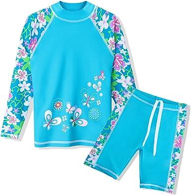 ZukoCert Girls Sunsuit Swimwear Sets Kids Long Sleeve 2 Piece Rash Guard Swimsuits 2-10 Years