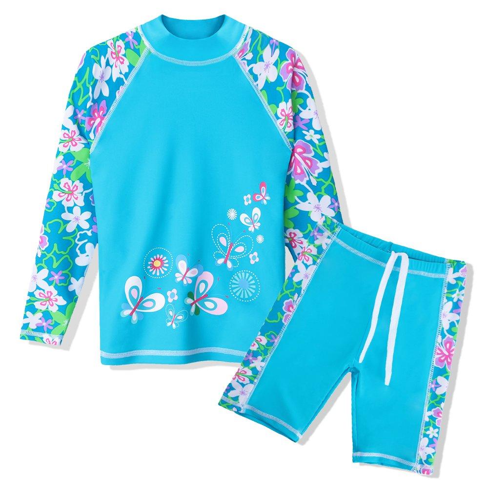 TFJH E Girls Swimsuit UPF 50+ UV Two Piece Rainbow Printed Blue Flower 128/134