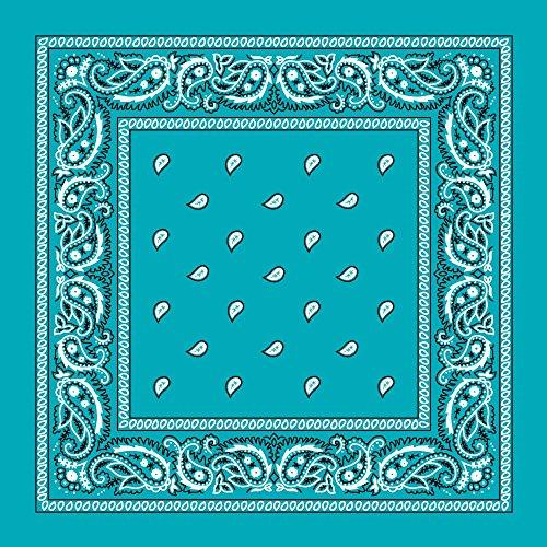 Turquoise Paisley Bandana - Single Piece 22x22 (Turquoise Paisley)