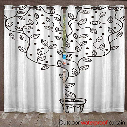 RenteriaDecor Outdoor Ultraviolet Protective Curtains Heart with Leaves and Flowers Growing in a Pot W84 x L108