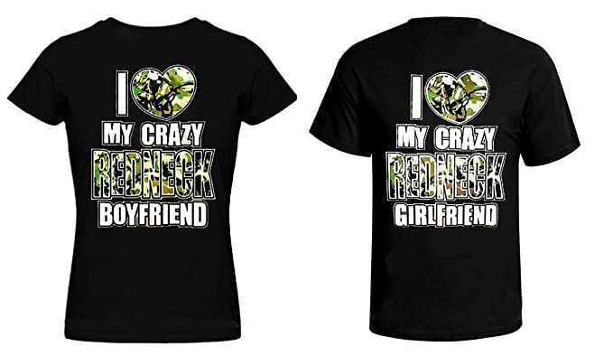 1e3d810dd5 I Love My Crazy Redneck Girlfriend/Boyfriend T-Shirt Set for Couples (His