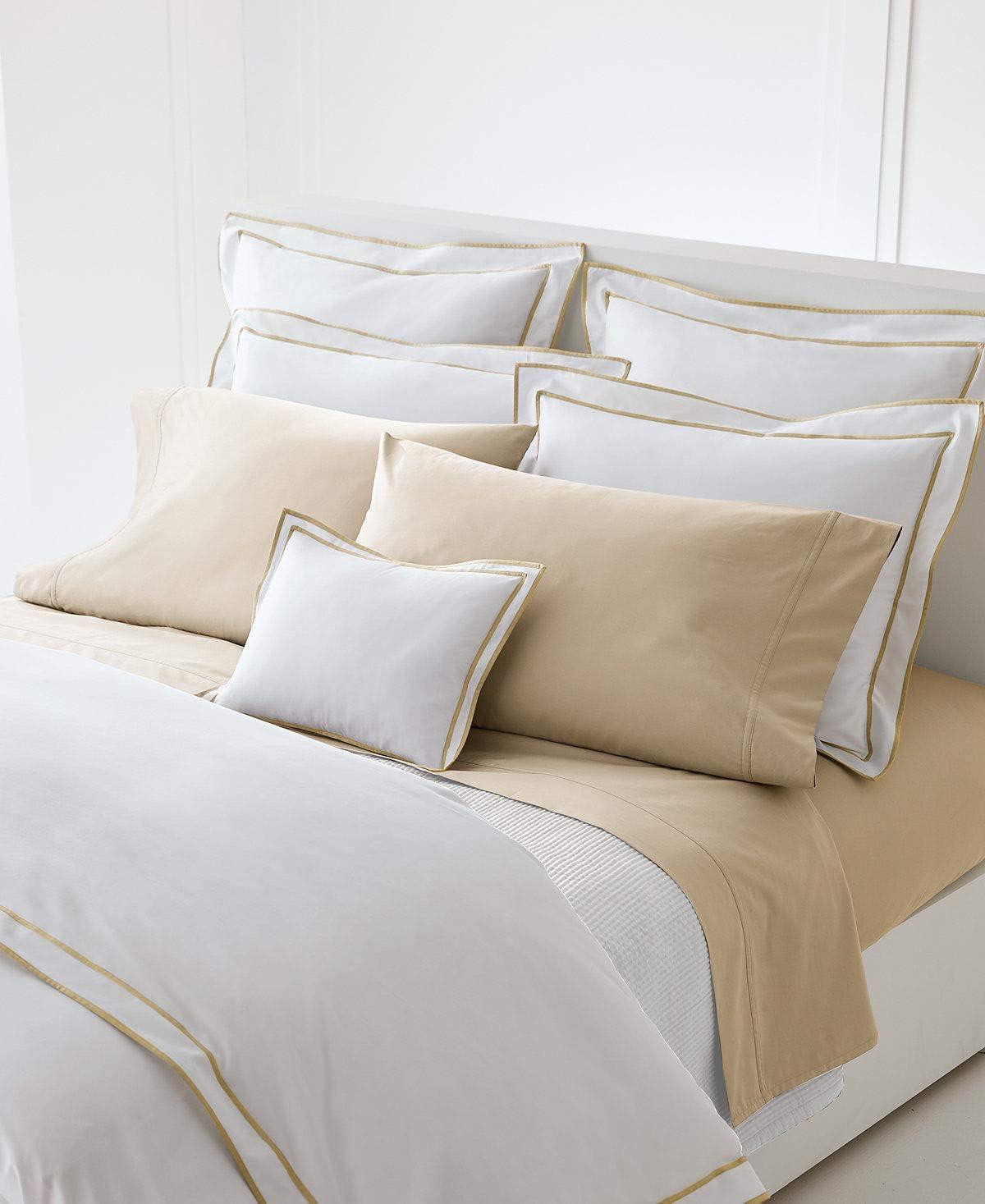 Ralph Lauren King Duvet Cover Spencer Border Sateen White/Wheat 100% Cotton