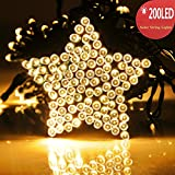 [UPGRADED] 200 LED Solar Powered String Lights by RECESKY 72ft Fairy Christmas Decor Lighting (10-wire clip included) for Outdoor, Indoor, Garden, Lawn, Yard, Holiday, Party Decorations (Warm White)