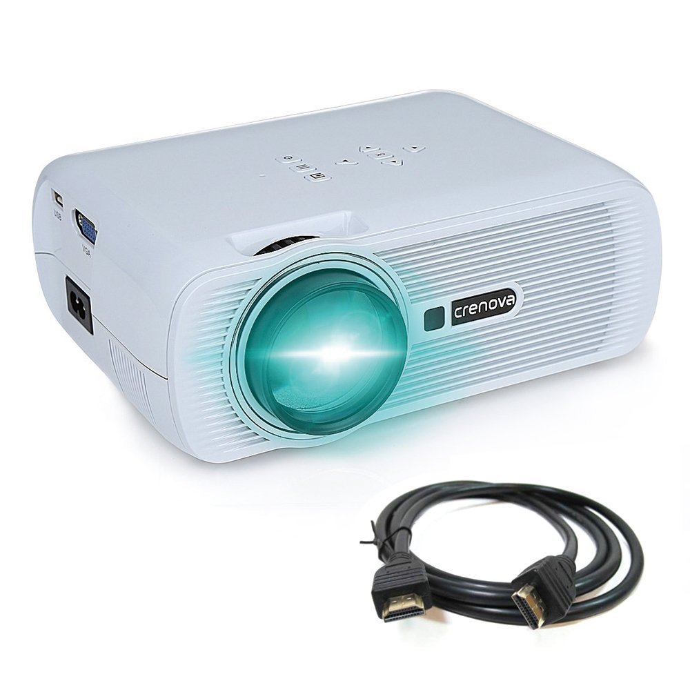 Proyector, crenova xpe460LED Upgrade beamer 1200lúmenes 800* 480resolución Ojo Protección Incluye cable HDMI para el hogar de jardín cine conectables...