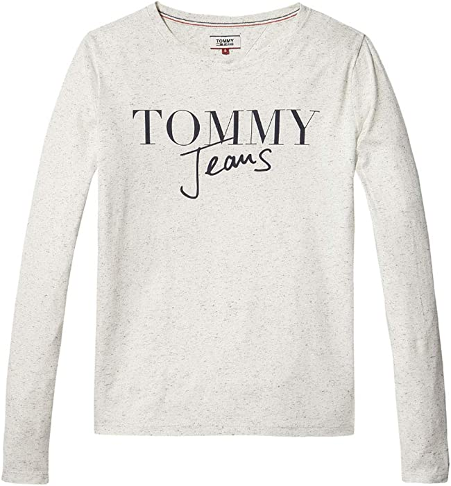 d62bfbff Tommy Hilfiger Women's Long Sleeve T Shirt Graphic Logo Tee, Pale Grey  Heather, X-Small: Amazon.co.uk: Clothing