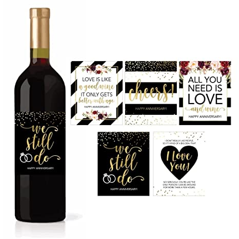 5 Wedding Anniversary Wine Label Stickers For 20th 25th 30th 40th 50th Gift Ideas Best