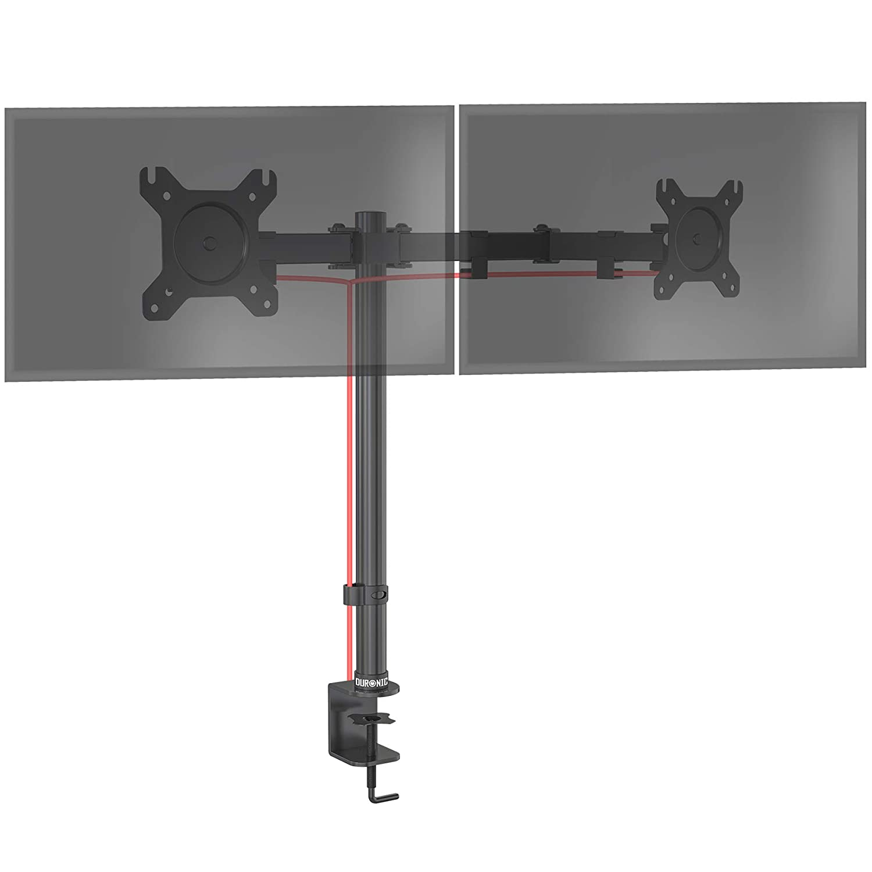Rotatif//Inclinable//Pivotable Compatibilit/é Universelle avec Moniteur d/'Ordinateur LCD//LED VESA 75//100 Duronic DM152 Support Double 2 /écrans PC pour Bureau /à Pince Hauteur Ajustable
