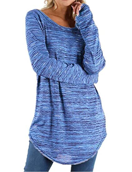 Reicy Women Casual Long Sleeve Round Neck Sweatshirt Pullover Loose Tunic Shirt Blouses Tops Pockets