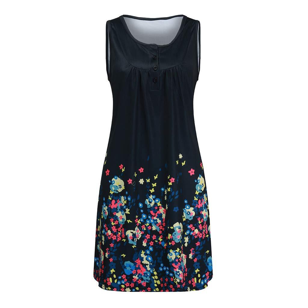 Womens Boho Floral Printed Sleeveless Pockets Mini Dress Casual A-Line Cocktail Party Dresses Beach Sundress