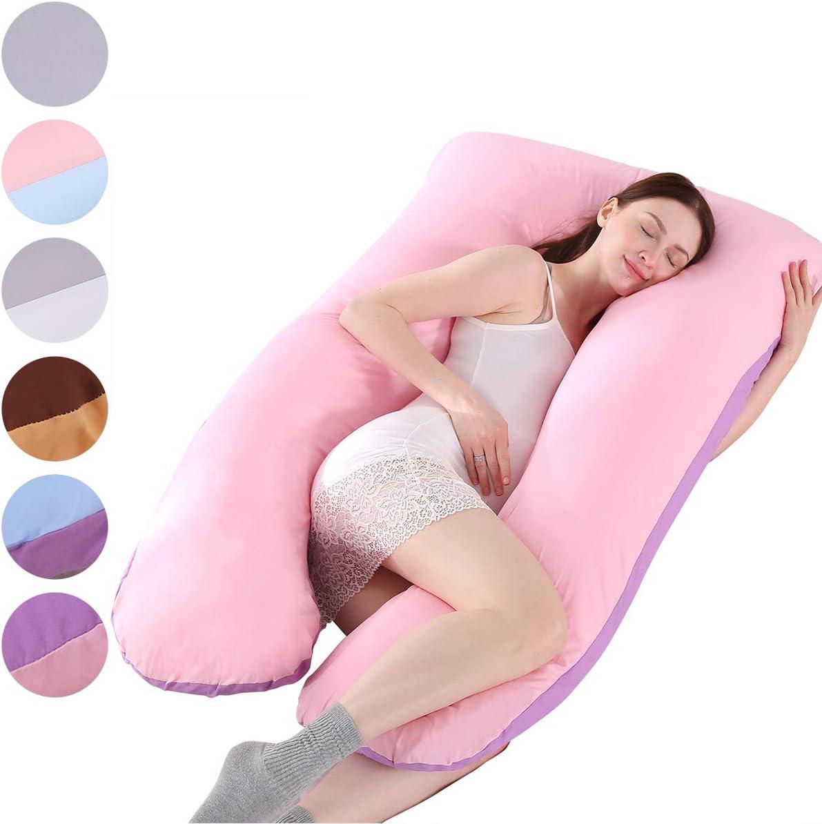 Almohada de embarazo, incluye funda de almohada de algodón, almohadas de maternidad para mujeres embarazadas con forma de U, funda de almohada desmontable y lavable, 70 x 145 cm (Púrpura + rosa)