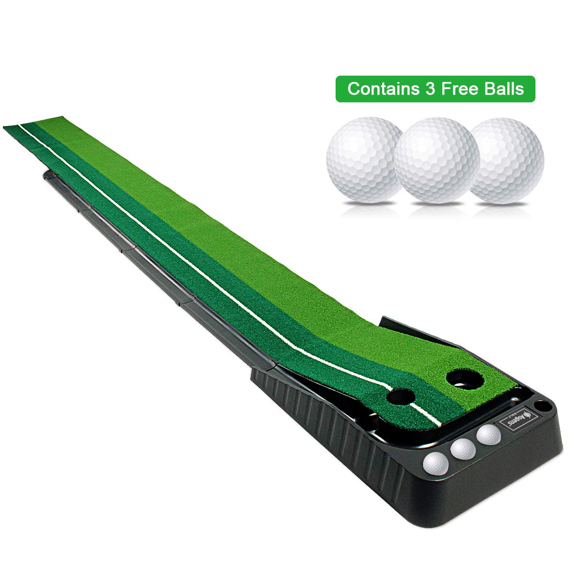Asgens Golf Putting Green, Indoor Outdoor Golf Auto Return Putting Mat, Dual-Track ProEdge Indoor Putting Trainer – Extra Long 9.8 Feet Mat, 2 Holes 2 Sizes, Gravity Ball Return