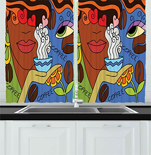 Ambesonne Coffee Decor Collection, Abstract Cartoon Illustration with Face of A Lady, Flowers And Coffee Floral Fun Design, Window Treatments for Kitchen Curtains 2 Panels, 55X39 Inches, Blue Brown (Satin 9081)