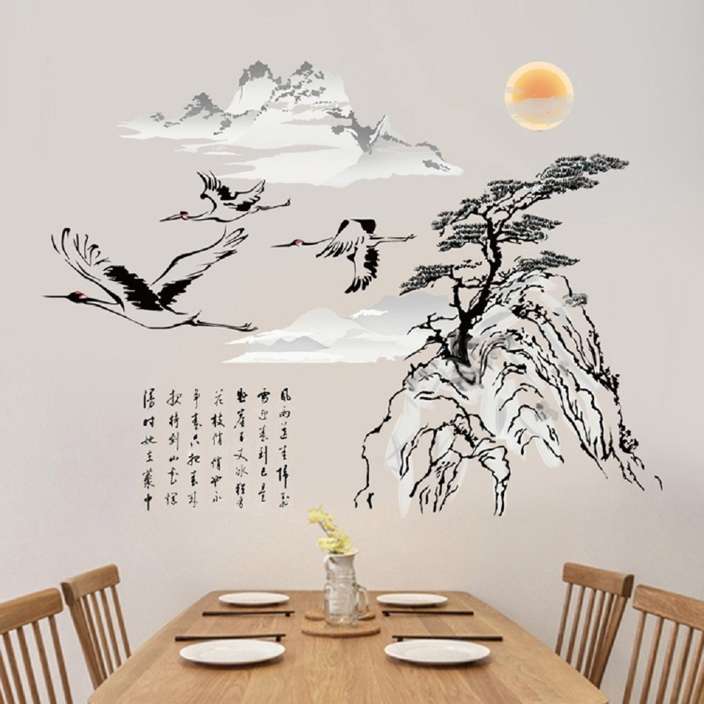 LiveGallery Removable Chinese Ink Landscape Painting Black Tree Flying Crane Sun Lettering Wall Decal Decor DIY home art Decor Stickers Offices Wall Decorations Stickers Nursery Gilrs Room Decal