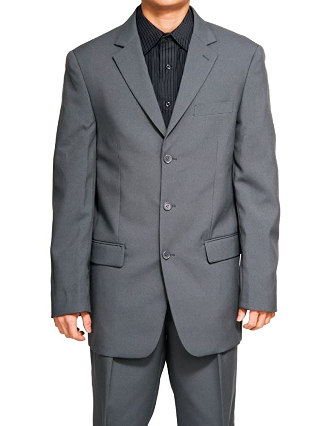 New Men's 3 Button Single Breasted Gray (Grey) Dress Suit at ...