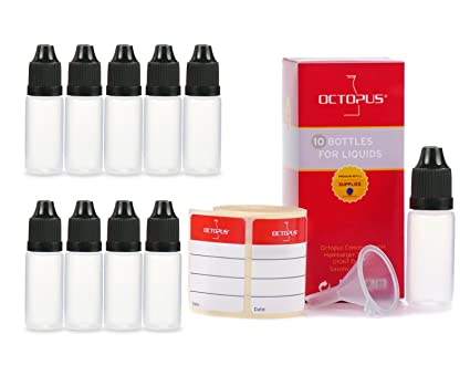 10x botellas de líquido de 10 ml con embudos + etiquetas, p. para e-liquids + e-cigarettes, botellas de plástico hechas de PE LDPE, botellas de ...