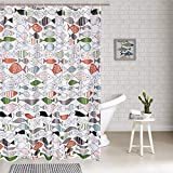 Fish Shower Curtain Fabric Smurfs Yingda Colorful Fish Shower Curtains 12 Hooks Included, Art Fish Print Bathroom Shower Curtain Durable Waterproof Fabric Bath Curtain
