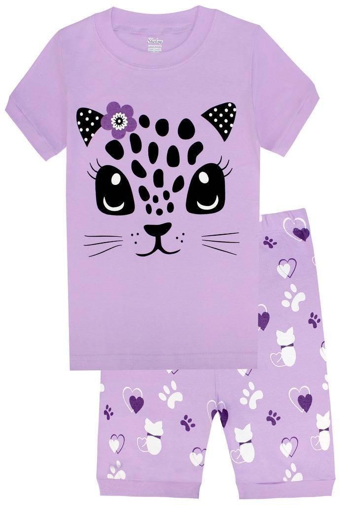 shelry Girls Pajamas Children Kids Cat Sleepwear 100% Cotton Short Set Size 6Y