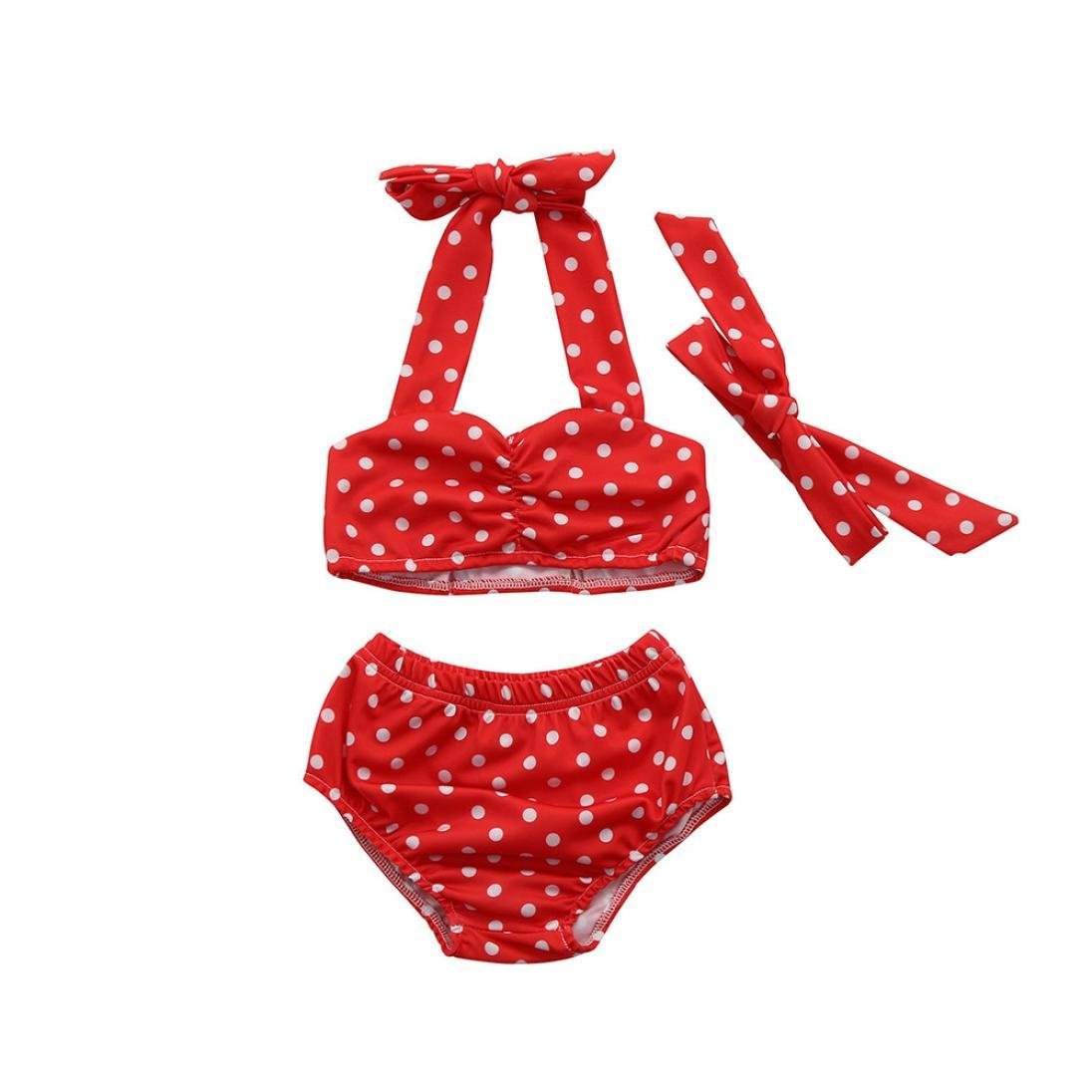 Baby Girls Bikini Set Swimsuit, 6 Months - 4 Years Old, BURFLY Summer Dot Printed Halter Neck Tops+ Shorts+ Bow Headbands, 3 PCS Infant Toddler Kids Beach Pool Swimwear Straps Bathing Baby Clothes Outfits
