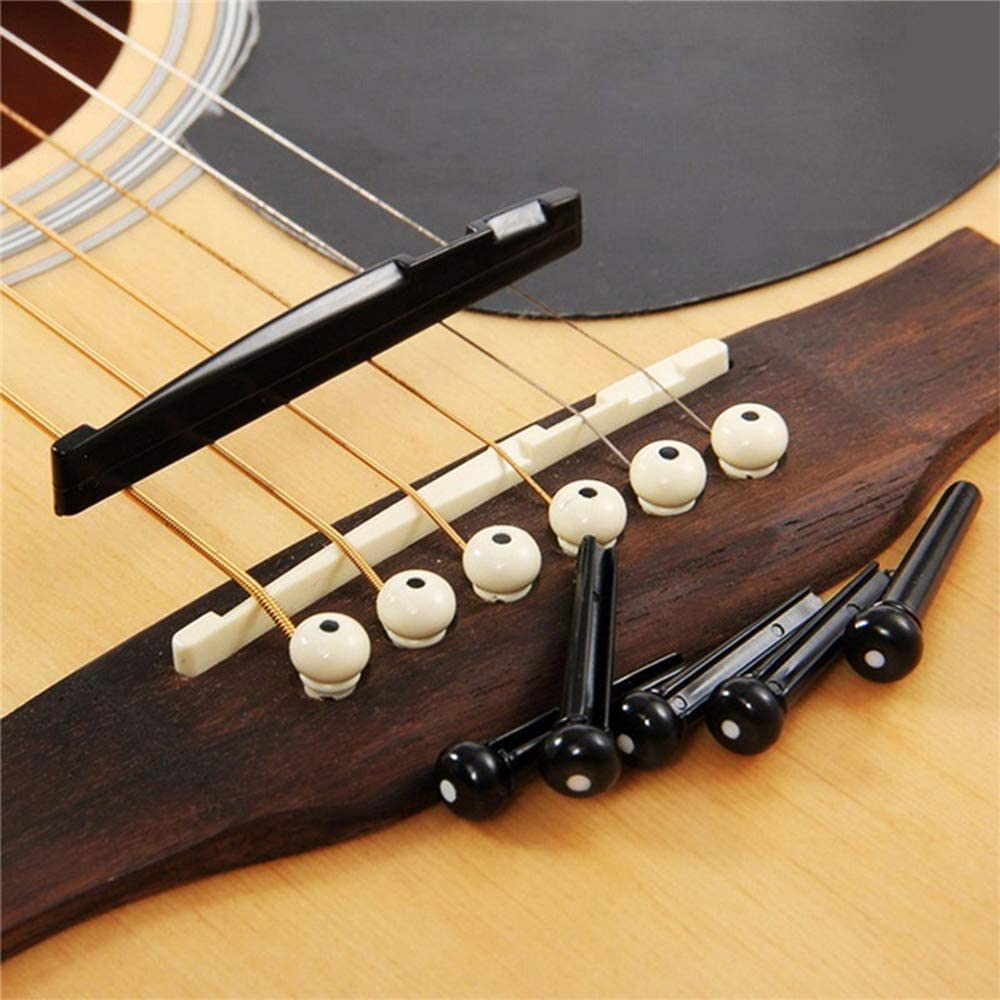 12pcs Acoustic Guitar Bridge Pins Pegs and 2 Set Saddle Nut with 1pc Bridge Pin Puller Remover Ivory /& Black-Jinlop