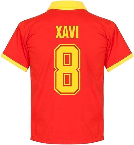 Camiseta Retro de España 1970s Local + Xavi 8 (Estilo Fan) - L: Amazon.es: Deportes y aire libre