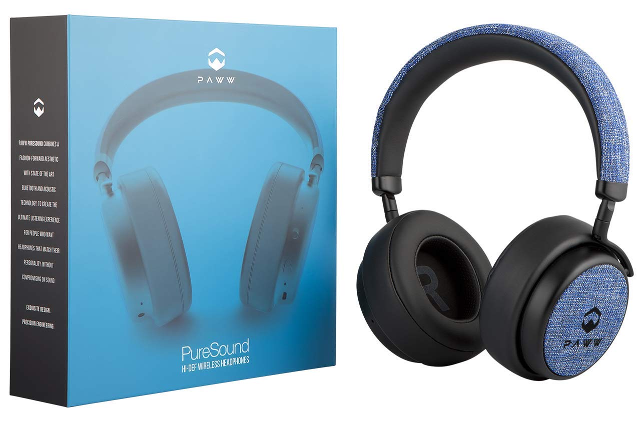 Paww PureSound Headphones - Over the Ear Bluetooth Fashion Headphones – Hi Fi Sound Quality Longer Playtime - For Calls Movies & More (Nautical Blue) (Renewed)