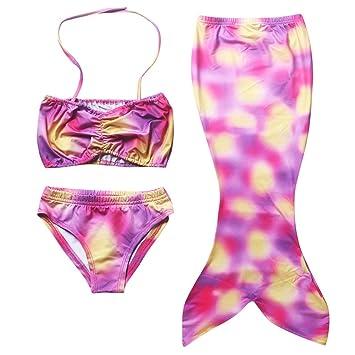 70458628b1 3 Pcs Girls Kids Swimmable Mermaid Tail Bikini Set Swimming Costume Age  4-10 Years