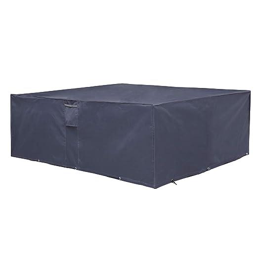 SONGMICS 600D Oxford Funda Protectora para Muebles de jardín, 242 x 162 x 100 cm, para Mesas y Sillas de Patio, Cubierta Protectora Exterior, ...