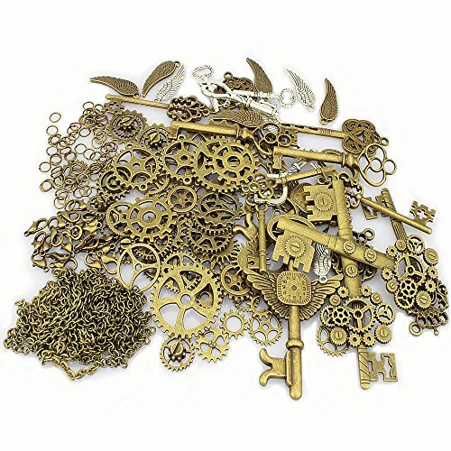 LolliBeads 230 Gram Antiqued Bronze/Silver Metal Skeleton Keys and Wings, Bronze Steampunk Watch Gear Cog Wheel, Chains, Clasps and Jump Rings DIY Kits (300 Pcs) (Vintage Gears)