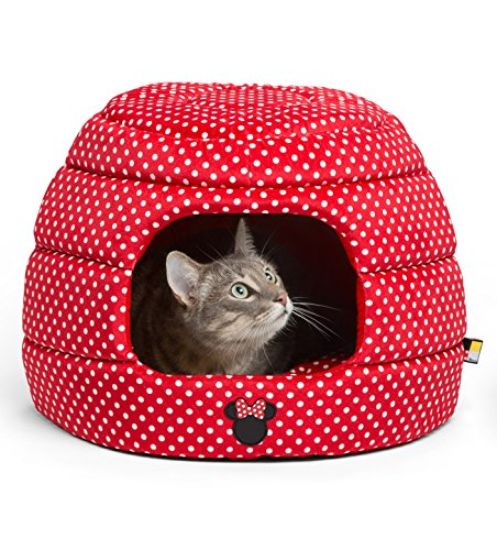 (Disney Minnie Mouse 2-in-1 Honeycomb Hut Cuddler in Minnie Dots, Red, Standard (Dog Bed/Cat)