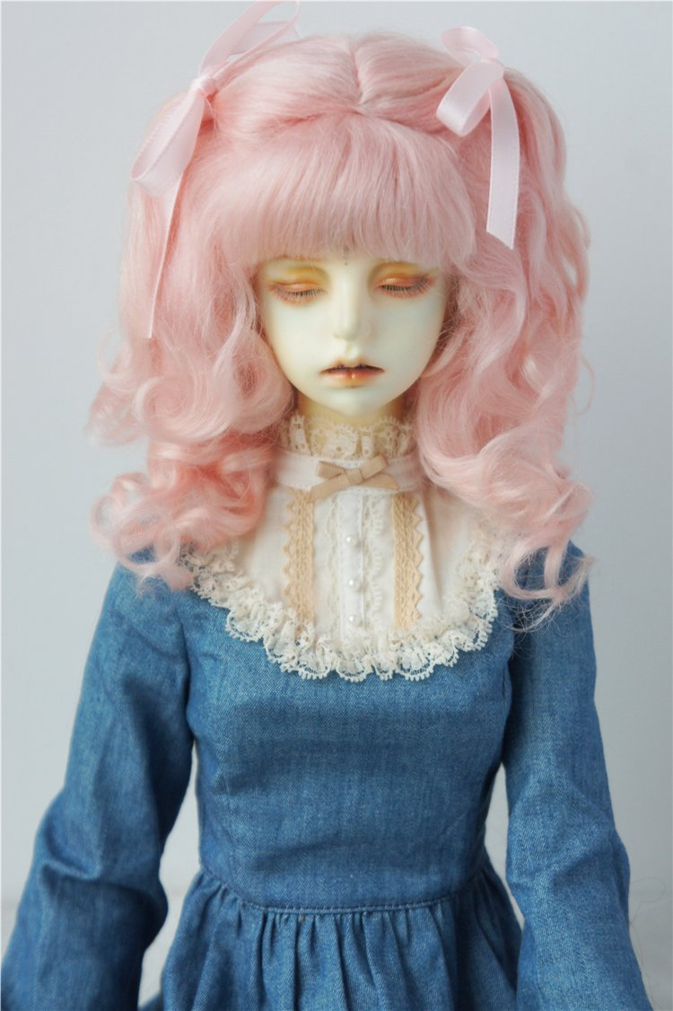 JD187 8-9inch 21-23cm Long Curly Princess Mohair BJD Wigs 1/3 SD Doll Accessories (Pink)