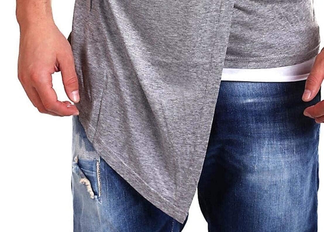 CMCYY Men Faux Twinset Short Sleeve O-Neck Stylish Irregular Tops T Shirt