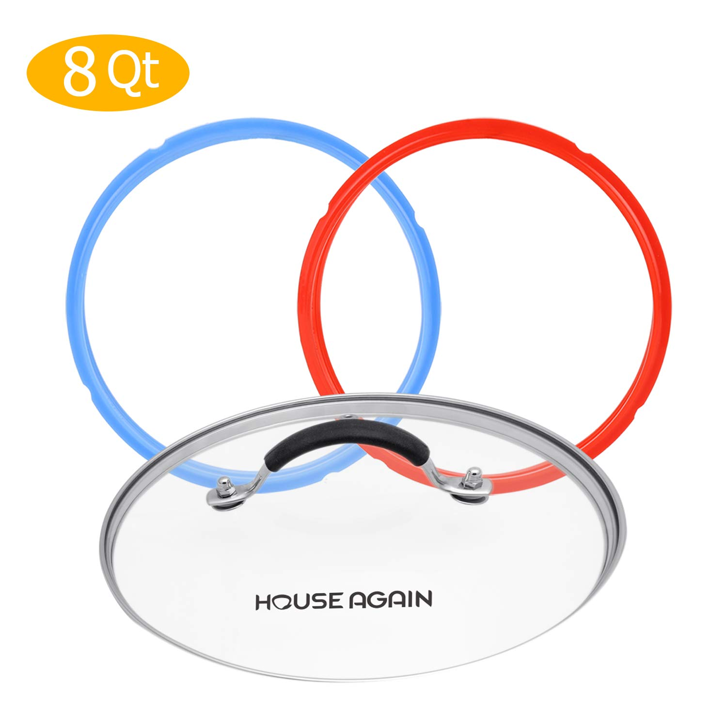 10 Inch Tempered Glass Lid, Transparent Glass Lid with Silicone Coated Handle -Silicone Sealing Ring - Pressure Cooker Accessory with Universal Lid and 2 Pcs Silicone Seal Rings, for 8 qt