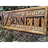 Personalized Family Name Sign Personalized Wedding Gifts Wall Art Rustic Home Decor Custom Carved Wooden Signs Couples 5 Year Wood Anniversary Gift