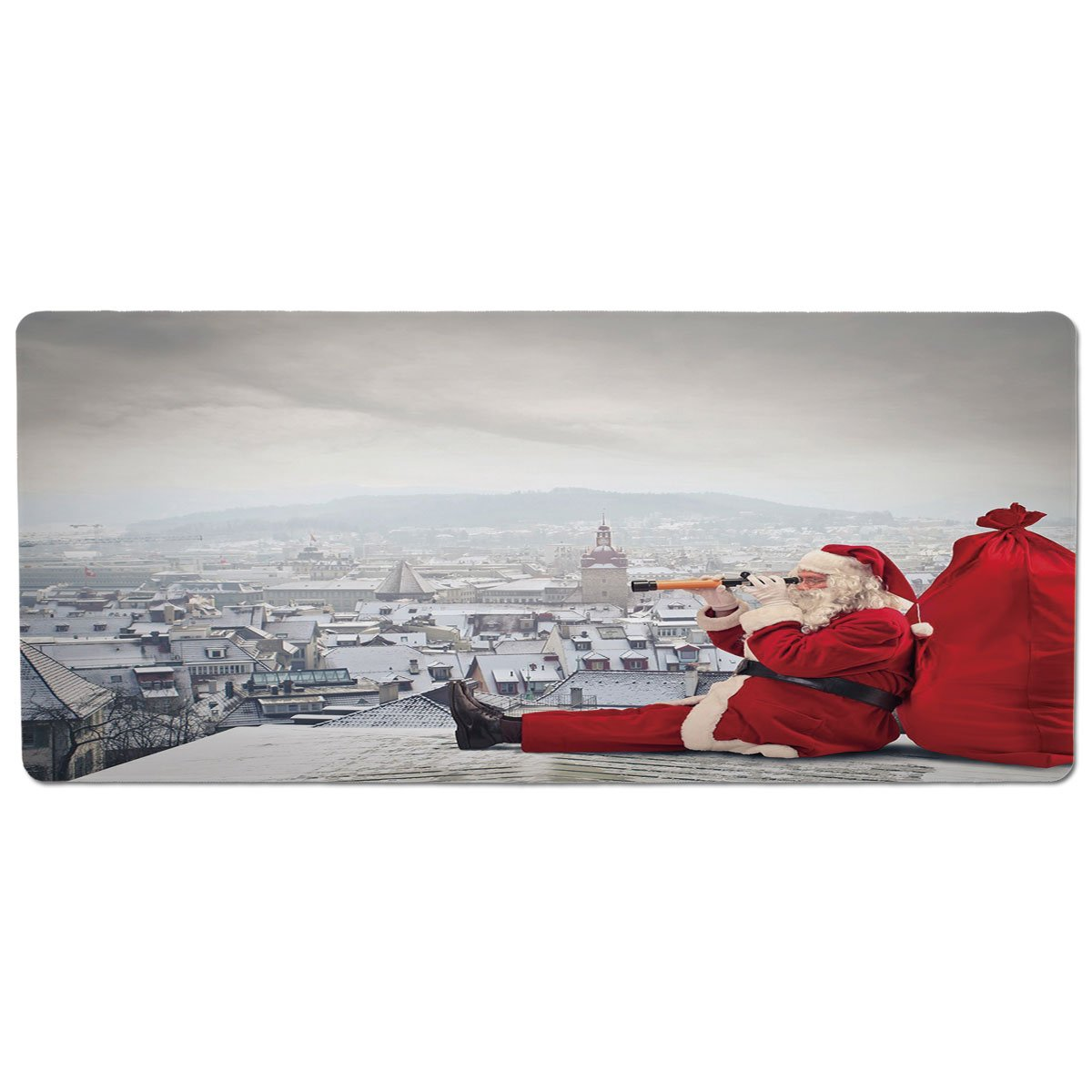 35.4\ Pet Mat for Food and Water,Christmas,Santa Claus Sitting on Roof Top Looking Through Binoculars Cloudy Cityscape Decorative,Red Light Grey,Rectangle Non-Slip Rubber Mat for Dogs and Cats
