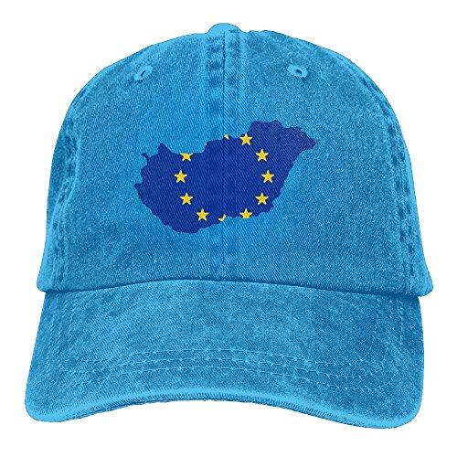 UCOOLE - Gorra de Béisbol Clásica con Diseño de Mapa de Hungría y la Bandera de la Unión Europea, Azul Real, Talla...
