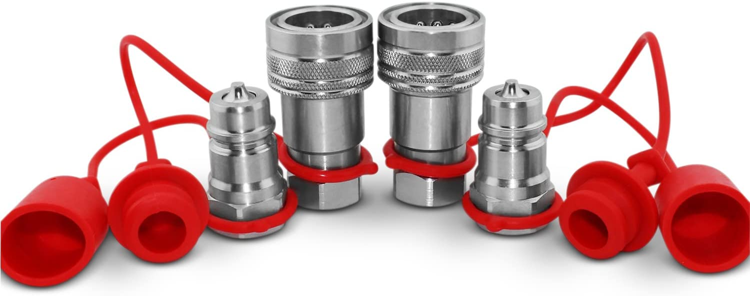 """1/2"""" Ag ISO 5675 Hydraulic Quick Connect Tractor Couplers, Poppet Pioneer Style w/Dust Caps, 2 Sets"""