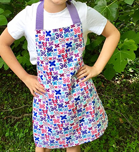 Handmade Purple Butterfly Apron for Tween Girl from Sara Sews