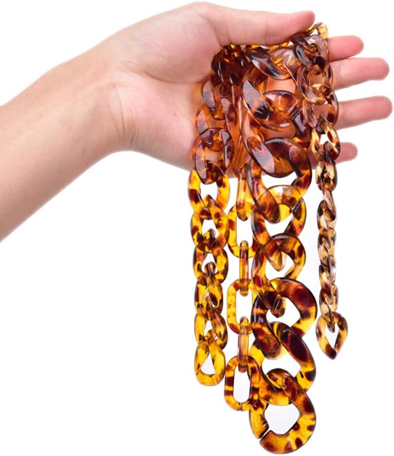 7thLake 50 Pcs//Set Acrylic Leopard Print Chain Links Open Connector Charms Pendants DIY Jewelry for Necklace Bracelet Making and Crafting